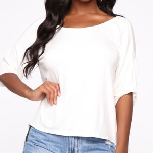 Tops - White Top with Twisted Back